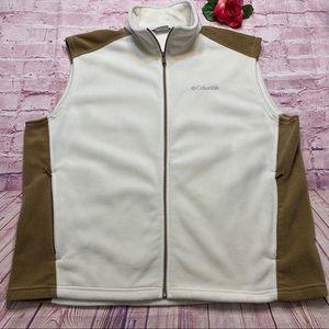 Columbia Mens Size XXL Cream & Brown Fleece Vest